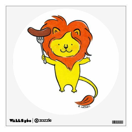 Cute Lion with Sausage Room Sticker