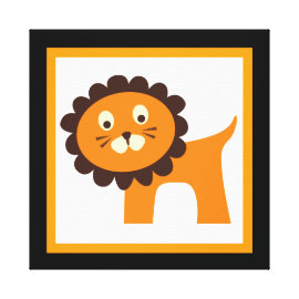 Cute Lion Wrapped Canvas Kids Wall Decor Baby Stretched Canvas Print