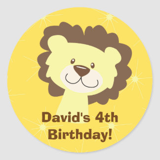 Cute Lion Yellow Sparkle Personalized Sticker