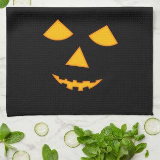Cute Lit Jack o Lantern Pumpkin Face Halloween Kitchen Towel