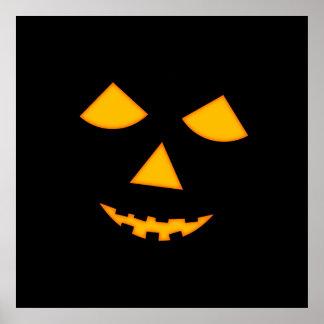 Cute Lit Jack o Lantern Pumpkin Face Halloween Poster