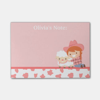 Cute Litlte Cowgirl with Lamb For Girls Post-it® Notes