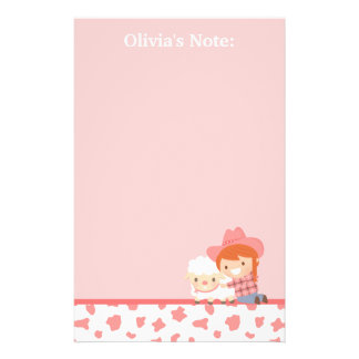 Cute Litlte Cowgirl with Lamb For Girls Stationery
