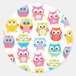 Cute Litte Owls Classic Round Sticker