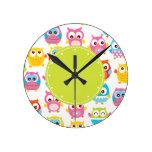 Cute Litte Owls Green Label Clocks