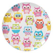 Cute Litte Owls Melamine Plate
