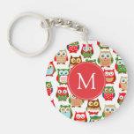 Cute Litte Owls Monogrammed Acrylic Key Chain