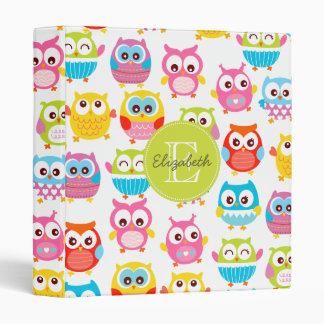 Cute Litte Owls Monogrammed Binder