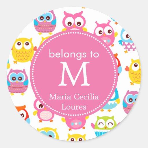 Cute Litte Owls Monogrammed Classic Round Sticker