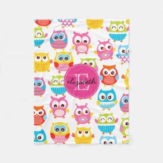 Cute Litte Owls Monogrammed Fleece Blanket