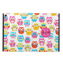 Cute Litte Owls Monogrammed iPad Air Cover