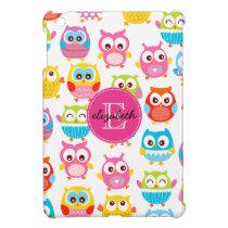 Cute Litte Owls Monogrammed iPad Mini Cover
