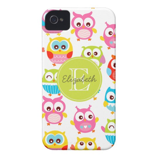 Cute Litte Owls Monogrammed iPhone 4 Cover