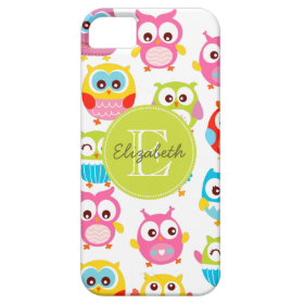 Cute Litte Owls Monogrammed iPhone 5 Cover