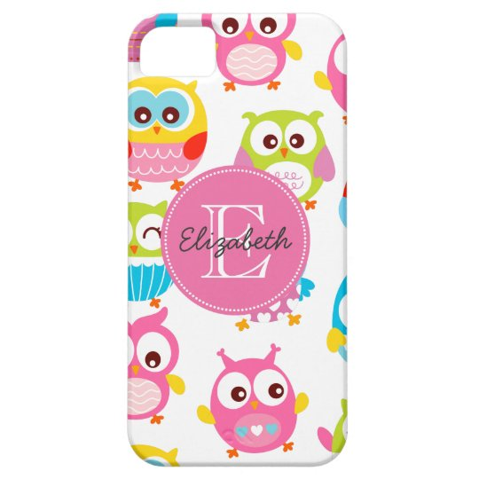 Cute Litte Owls Monogrammed iPhone SE/5/5s Case