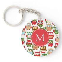 Cute Litte Owls Monogrammed Keychain