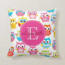Cute Litte Owls Monogrammed Throw Pillow
