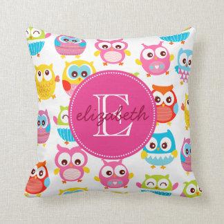 Cute Litte Owls Monogrammed Throw Pillow