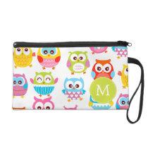 Cute Litte Owls Monogrammed Wristlet Purse