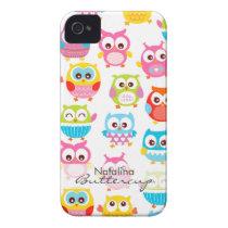 Cute Litte Owls Personalized iPhone 4 Case-Mate Case