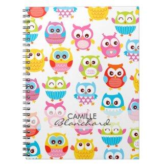 Cute Litte Owls Personalized Note Books