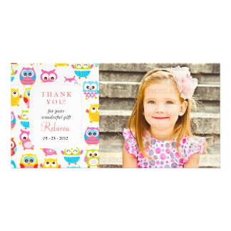 Cute Litte Owls Photo Any Occasion Thank you Photo Card