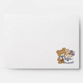 cute litte teddy bear wedding couple envelope