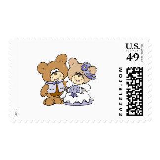 cute litte teddy bear wedding couple stamps