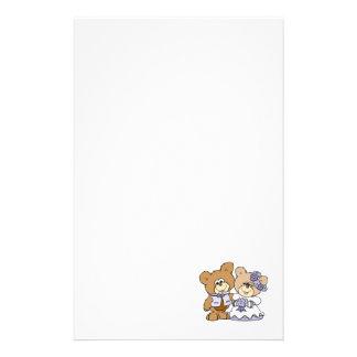 cute litte teddy bear wedding couple stationery