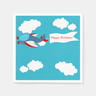 Cute Little Airplane Boy Birthday Paper Napkins