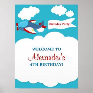 Cute Little Airplane Boy Birthday Poster