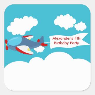 Cute Little Airplane Boy Birthday Sticker Square Sticker