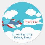 Cute Little Airplane Boy Birthday Sticker