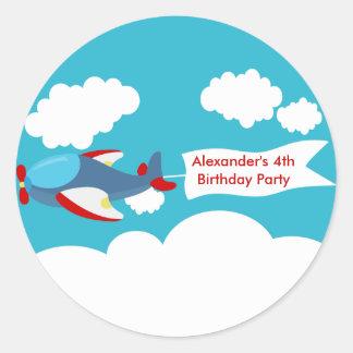 Cute Little Airplane Boy Birthday Sticker Round Sticker