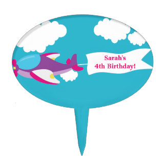Cute Little Airplane Girl Birthday Cake Topper