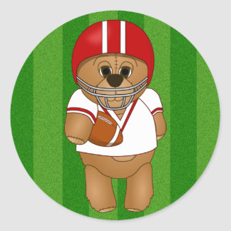 Cute Little American Football Player Teddy Bear Classic Round Sticker
