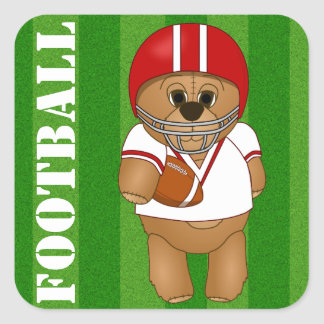 Cute Little American Football Player Teddy Bear Square Sticker