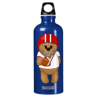 Cute Little American Football Player Teddy Bear Water Bottle