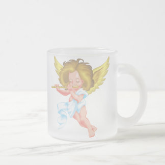 Cute Little Angel on Flute Frosted Glass Coffee Mug