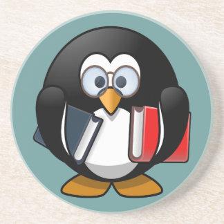 Cute little animated bookworm penguin coaster
