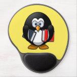 Cute little animated bookworm penguin gel mouse pad