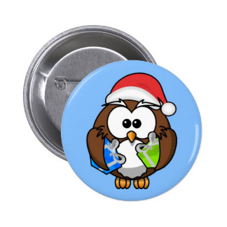 Cute little animated Christmas owl Pinback Button
