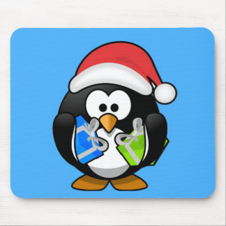 Cute little animated Christmas penguin Mouse Pad