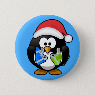 Cute little animated Christmas penguin Pinback Button