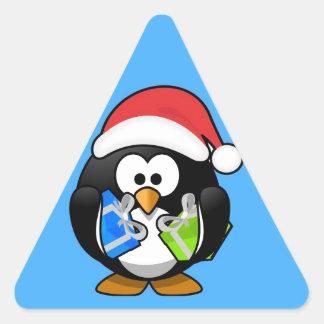 Cute little animated Christmas penguin Triangle Sticker