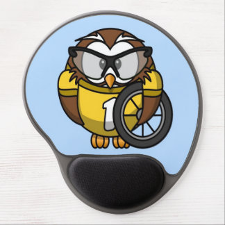 Cute little animated cyclist owl gel mouse pad
