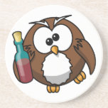 Cute little animated drunk owl coaster