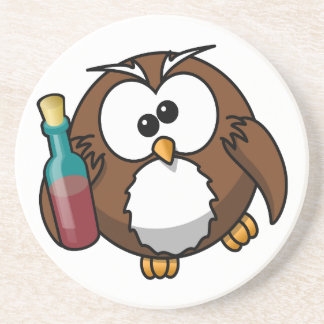 Cute little animated drunk owl coaster