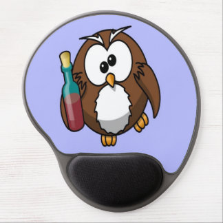 Cute little animated drunk owl gel mouse pad
