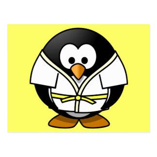 Cute little animated judo penguin postcard